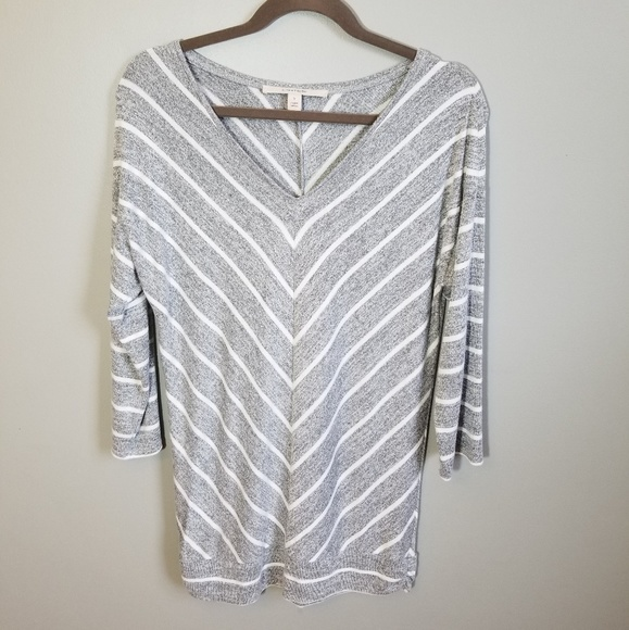 41 Hawthorn Tops - 41 Hawthorn grey stripe drop sleeve top M